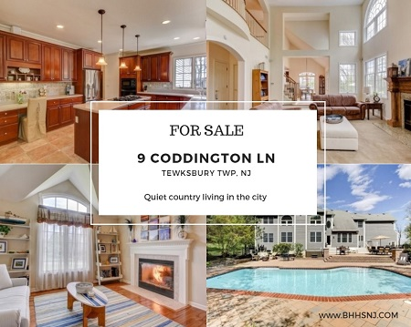 The amazing home at 9 Coddington Ln, Tewksbury Twp, NJ offers country living only minutes from city amenities. Soaring ceilings, large yard, saltwater pool, fully finished basement and master retreat with fireplace only touch the surface of what to expect here.