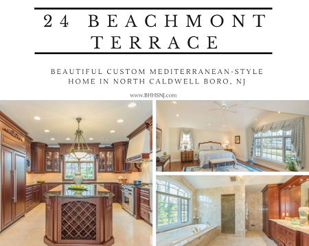Feel like you're living in the Mediterranean in the fully custom, luxury home located at 24 Beachmont Terrace in North Caldwell, NJ.