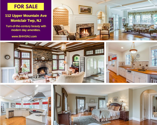 112 Upper Mountain Ave in Montclair Twp, NJ offers turn-of-the-century beauty with modern day amenities, including 7 fireplaces, extra large rooms and a carriage fully equipped for extended guests or to rent out.