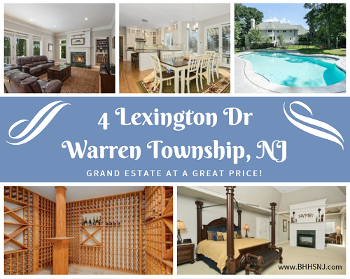 The gorgeous estate at 4 Lexington Dr in Warren Township, NJ comes at a great price. It features beautiful wood floors, guest rooms on each floor, a gourmet kitchen, your own private library, a dual-sided fireplace in the master bedroom, a fully finished walkout basement with its own kitchen, and a gunite pool out back. What else could you possibly need?
